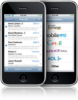 Mail app on the iPhone